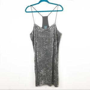CeCe Gray Thin Strap Velour Lined Shift Dress